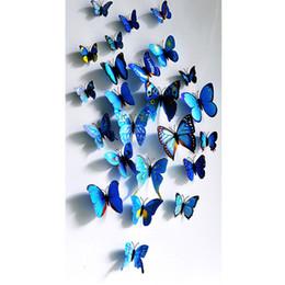 Wholesale Order Live Butterflies - 12Pcs Creative Colorful 3D Butterfly Wall Stickers Removable Home Decors Art DIY Plastic Decorations papel de parede E5 order<$18no track