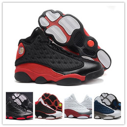 Wholesale hologram boots - 2017 With Box 13 XIII Basketball Shoes black cat Bred Navy Game hologram grey toe Flint Grey Athletics 13s Sport Sneaker Boots