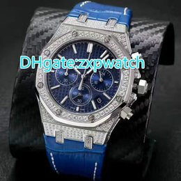 Wholesale Ice Chronograph Watch - Luxury Mens Watches Quartz Movement Chronograph Silver Diamond Zircon sapphire Top AAA Quality Full iced watch blue leather band watch