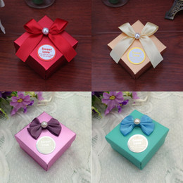 Wholesale sweet love favor box - New 5 Colors Available Paper Sweet Love Wedding Candy Box Party Favor Chocolate Boxes Free Shipping