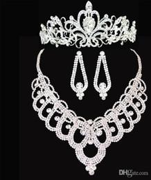 Wholesale Costume Rhinestone Necklace - 2016 Rhinestone Crown Tiara Wedding Necklace Earrings Bridal Jewelry Set Wedding Accessories Bridal Costume Jewelry Accessories so60