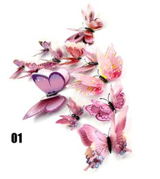 Wholesale Green Day Wall Stickers - Butterfly Decorations Home Decor Sticker Art Design Decal Wall Stickers Room Decorations 3d Butterfly Artificial Butterfly Decorations