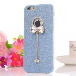 Wholesale Diamond Bling Bow Case - Crystal Diamond Butterfly Bow Glitter Bling Pendant TPU Soft Back Cover Case For iPhone SE 5 5S 6 6S Plus 4.7 5.5 inch Free DHL MOQ:100pcs