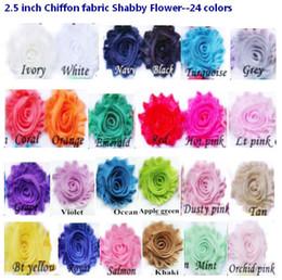 Wholesale Wholesale Chiffon Flower Trim - 2.5 inch chiffon fabric Shabby Flowers Baby Headbands lace flower trim clothes Button flower Children Hair Accessories 24 colors
