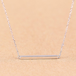 Wholesale Wholsale Sterling Silver Necklaces - 2016 hot plain design solid 925 sterling silver Simple Collar Necklace Guangzhou fashion bar necklace wholsale