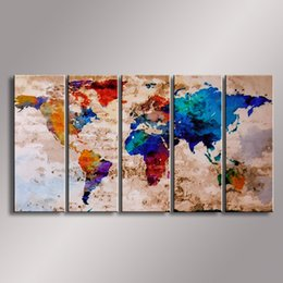 Wholesale Oil Paintings Maps - World Map painting Oil Painting 100% Hand Painted Modern Wall Art Painting ,Abstract oil painting WM-006
