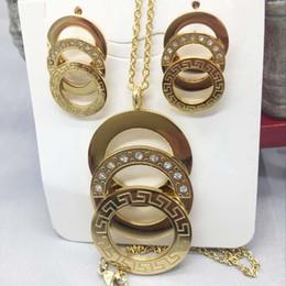 Высокое качество Моды G зерна сияющий цирконий круглый золотой тон 316L серьги из нержавеющей стали и кулон ожерелье комплект ювелирных изделий от