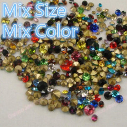 Wholesale Crystal Pointed Back Rhinestones - 40Gram Mix Color Mix Size Point Back Glass Rhinestones Loose Strass Crystal Nail Art Stones Wedding Dress Clothing Decorations