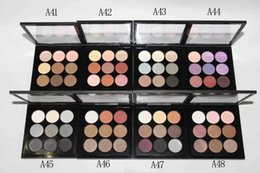 Wholesale Wholesale Eye Shadow Compact - M Brand Makeup Eyeshadow Palette Kit Burgundy Eye Shadow X9 Matte Satin Eyes Pro Color 9 Compact High Quality Cosmetic DHL Free Shipping