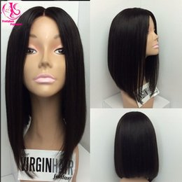 Wholesale Cheap Short Blonde Wigs - Hot popular Middle part short Bob wig black wig synthetic lace front wigs with baby hair heat resistant fiber cheap wigs for woman