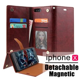 Wholesale Plastic Id Cover - For iphone 7 8 8plus Wallet Leather Case with Card Money Slots Multi-functional ID Window Shockproof PC Cover for iphone X 6S plus