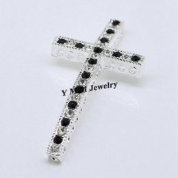 Wholesale Making Bracelet Connector - Hot Sale 20pcs Silver Plated Sideways Cross Connectors Bracelets Making Findings With Black And White Rhinestone