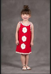 Wholesale Sunflower Flower Girls Dresses - 2016 girls sunflower dresses kids red flower clothes children summer sleeveless clothing high quality dress for youth 100-150cm