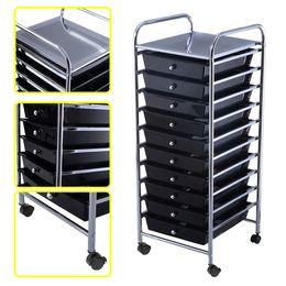 Wholesale Organizer Cart - 10 Drawer Rolling Storage Cart Scrapbook Paper Office School Organizer Black
