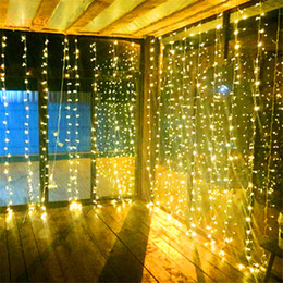 Wholesale Waterfall Net - LED Curtain Light Waterfall Light 6m*3m 2m*2.5m 3m*3m Water Flow Christmas Wedding Party Holiday Decoration LED Strings Fairy String Lights