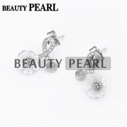 Wholesale Flower Earring Diy - Bulk of 3 Pairs Zircon White Shell Flower Earring Mount 925 Sterling Silver DIY Jewellery Findings