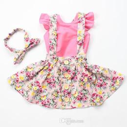 Wholesale Suspender Skirts Sets - INS Floral girls clothes Girls skirt pink top 3pcs set ,Summer Suspender skirt in Vintage pink Floral ,floral Children set