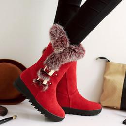 Wholesale Knee High Waterproof Snow Boots - Wholesale- 2016 New Shoes Women Boots Designer Ladies Winter outdoor keep Warm Fur Boots Waterproof Women's Snow Boots
