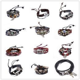Wholesale Bangle Bracelets Wholesale Price - Europe Hot charm leather bracelet & bangles Vintage alloy jewelry hip-hop style Christmas gift for men and women low prices mix style
