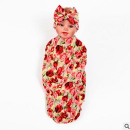 Wholesale Wholesale Kids Bedding Sets - Baby boy girls blankets 80*80CM Newborn kids bedding infant kids floral printed swaddler+bows hair bands 2pcs sets babies wrapping T0460