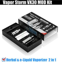 Wholesale Vapor Storm - Authentic Vapor Storm VX30 mini 30W Mod Kit H1 wax Dry Herb atomizer Herbal Vaporizer EC2 II e Liquid 3in1 mods kits Pen E Cigs vapors DHL