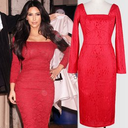 vestidos vermelhos formais do bodycon Desconto Chegada nova Outono Senhora Europeia Kim Kardashian Mesmo Vestido de Noite de Renda Vermelho Fino de Mangas Compridas Quadrado Collar Bodycon Vestido Formal