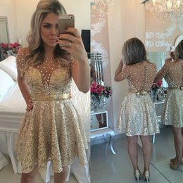 Wholesale Sleeve Sequin Mini Dress - 2017 New Gold Blinbling Short Sleeves Homecoming Dresses Beadings See Through Back Pearls Sequins Short Prom Dresses Sequins Cocktai Dresses