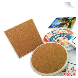 Wholesale Coaster Cork - Wholesale- Square and round custom coasters cork ceramic cup pad 10 pieces per lot