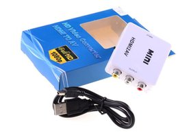 Wholesale Mini Ntsc Pal Converter - Mini HD Video Converter Box HDMI to AV CVBS L R Video Adapter Adapters 1080P HDMI2AV Support NTSC And PAL Output