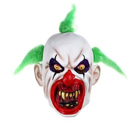 Wholesale fancy dress teeth - US Scary Clown Mask Green Hair Buck teeth Full Face Horror Masquerade Adult Ghost Party Mask Halloween Prop Costumes Fancy Dress