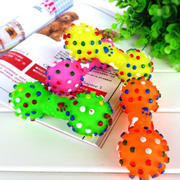 Wholesale Dog Squeeze Toys - New Colorful Dotted Dumbbell Shaped Squeeze Squeaky Faux Bone Pet Dog Toys