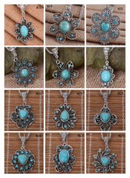 Wholesale Tibetan Necklace Wholesale - Flower Tibetan silver turquoise necklace(with chain) 12 pieces a lot mixed style, fashion women's DIY European Beads pendant necklace GTTQN3