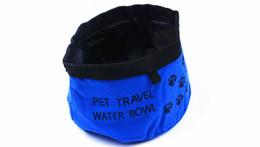 Голубой корм для собак онлайн-Водонепроницаемый Ткань Портативный Foldbale Собака Кошка Путешествия Еды Чаша Маленький Средний Большой Собаки Кошки Фидер Красный Синий Цвет