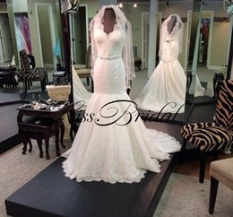 Wholesale Long Pics - Vintage Ivory 2017 Lace Wedding Dresses Shinny Luxury Bridal Gowns With V Neck Mermaid Formal Long Dress For Wedding Real Pics