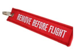 Wholesale Remove Chain - Wholesale-Remove Before Flight Embroidered Canvas Specil Lage Tag Label Key chain Free Shipping