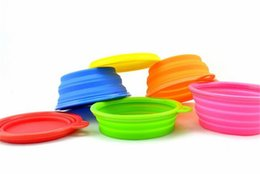 Wholesale Cat Feeding - 50pcs 8 colors Portable Pet Dog Cat Silicone Collapsible Feeding Feed Water Feeders Foldable Travel Food Bowls Dish Frisbee D626