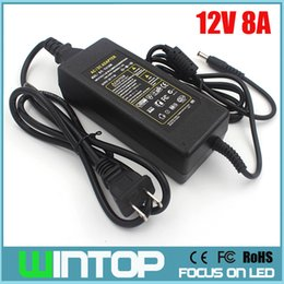 Wholesale Cctv Adapters - AC to DC 12V 8A Power Adapter EU US AU UK Plug Professional Switch Power Supply Power Adapter for LED Light LCD Monitor CCTV
