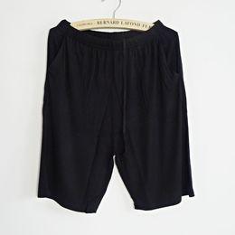 Wholesale Mens Sleep Shorts - Wholesale-2016 Summer Mens Big Size Modal Knee Length Sleep Bottom Loose Fit Pajama Short Pants Sleep And Lounge Homewear Soft Breathable