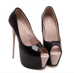 Canada 16 cm talons hauts blanc peep toe pompes dames de mariage robe de bal robe de la taille 34 à 39 cheap high heeled shoes gowns Offre