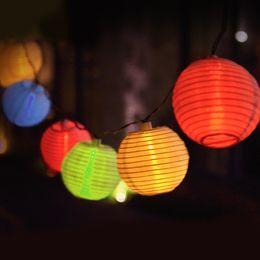 Wholesale Solar Lantern Fairy Lights - Wholesale- 20LED Lantern Ball Solar Power Fairy String Lights Lamp Waterproof 4 Colors
