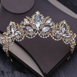 Wholesale Gold Tiara Free Shipping - 2018 Bling Silver Crystal Rhinestone Wedding Crowns Headbands Gold Metal Headpieces Headband Free Shipping Bridal Tiaras Jewelry Formal Gown