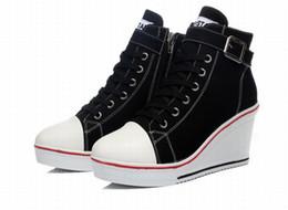 High heel canvas sneaker online-Frauen Turnschuhe Plattform hoch oben Runde Zehe schnüren sich oben Segeltuchschuhe Reißverschluss Schnalle Keile Frau High Heels Damen Freizeitschuhe plus Größe 35-43