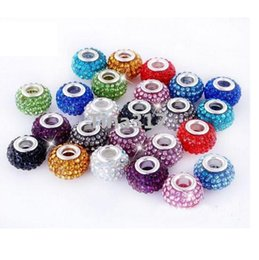 Wholesale Multicolor Shamballa - New Multicolor New Resin Rhinestone Shamballa Bead Silver Plated Core Crystal Loose Necklace Beads Fit Braceles 2525