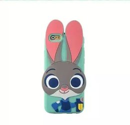Wholesale Hot Silicone Iphone Case - Hot sale 3D Cartoon Zootopia Judy Rabbit soft Silicone case for iphone5 5S iphone6 6S iphone 6 plus 5.5""
