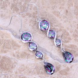 Wholesale Rainbow Crystal Dangle Earrings - Hot Sell ! Rainbow Mystic Topaz 925 Sterling Silver Drop Dangle Earrings For Women Free Shipping & Jewelry Bag S0206