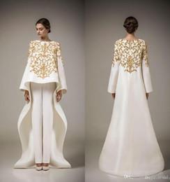 Wholesale Golden Beaded Mermaid Prom Dress - Two Pieces Prom Dresses 2017 Vintage Long Sleeve Saudi Arabian Robe Muslim Formal Dresses Golden Embroidery Flowers White Evening Dress
