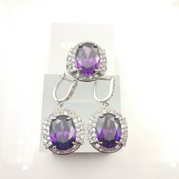 Wholesale b 925 china - new sterling silver 925 jewelry women's fashion earrings ring Purple color size 7 8 9 jewelry box free gift Box B