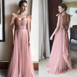 Wholesale Plus Size Black Tie Gowns - New Design Pink Prom Dresses Sexy Spaghetti Strap Corset Bodice Tulle Evening Gown Floor Length Arabic Party Dress For Women With Bow Tie