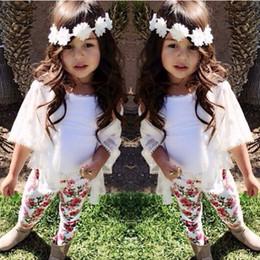 Wholesale Children Vest Fashion - kids clothes baby girl clothes black white vest+white jacket +floral pants 3pcs set baby girl fashion summer clothes suit children 1-8 years