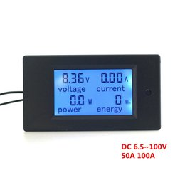 Wholesale Power Energy Monitor - Wholesale-Digital Voltage Ampere Power Energy meter monitor DC 6.5~100V 100A 50A Optional with LCD Large-screen Blue backlight